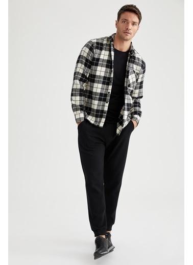 DeFacto Kareli Modern Fit Uzun Kollu Oduncu Gömlek Siyah